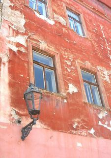 Grungy Old Weathered Facade With Old Lantern, Cesky Krumlov, Czech Republic Stock Image