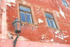 Grungy Medieval Facade With Old Lantern, Cesky Krumlov, Czech Republic Stock Photography
