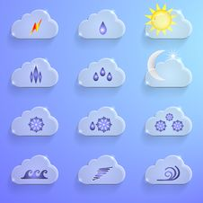 Free Blue Clouds With Weather Signs Infographics Royalty Free Stock Photo - 33940265