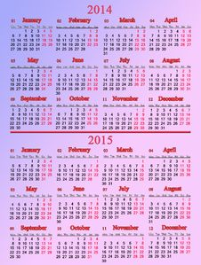 Usual Pale Rose Calendar For Two Nearest Years Stock Image