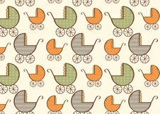 Free Hand Drawn Baby Carriage Pattern Royalty Free Stock Photography - 33949917