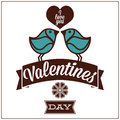 Free Greeting Card For Valentines Day, With Funny Birds Royalty Free Stock Photography - 33959617