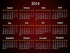 Beautiful Claret Calendar For 2014 Year Stock Photos