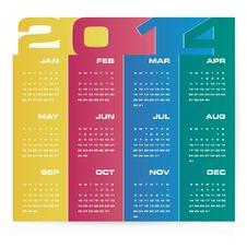 Free Simple Calendar 2014 Royalty Free Stock Image - 33958996