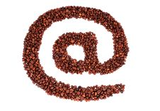 E-mail Symbol Is Laid From Coffee Beans Stock Image