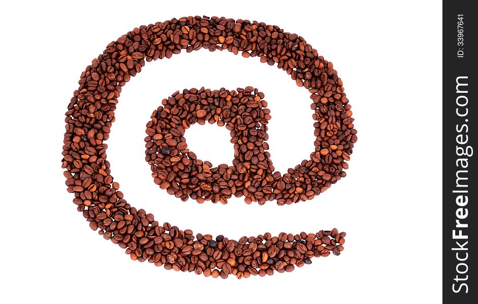 E-mail symbol is laid from coffee beans