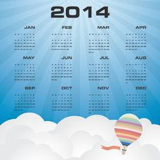 Simple Calendar 2014 With Beautiful Sky Background Stock Photo