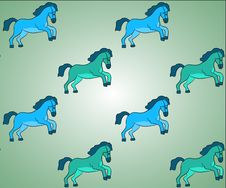 Free Blue And Green Horses Vector Background Pattern Stock Photos - 33981073