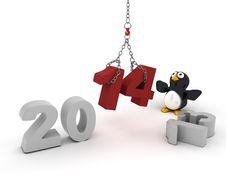 Free Penguin Character Bringing In The New Year Stock Photo - 33981790