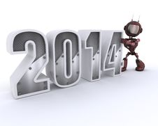 Free Android Bringing In The New Year Royalty Free Stock Photography - 33982007