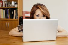 Shy Asian Business Woman Hiding In Her Office Royalty Free Stock Photos
