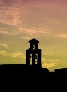 Free Sunset Over Chappel Silhouette Stock Photography - 342952