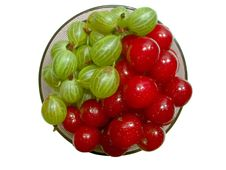 Cherries And Gooseberries 2 Stock Photography