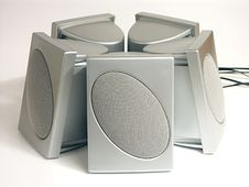 Free Five Silver Speakers Stock Photo - 347650