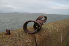 Free Rusty Metal On Sea Wall Royalty Free Stock Photography - 348357