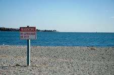 Free Warning, No Lifeguard On Duty Sign At The Beach Stock Images - 348424