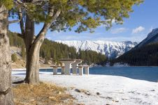 Free Mountain Lake In Winter Stock Photography - 349132