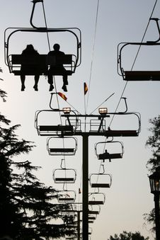 Free Ski Lift Ride Silhouette Stock Image - 349721