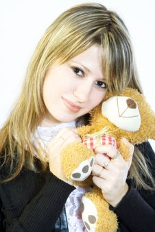 Free Girl And Teddy Stock Photography - 3400002