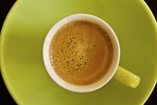 Expresso In White Cup On Green Royalty Free Stock Images