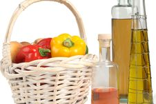 Free Basket With Peppers And Oil Stock Photos - 3405013