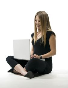 Free Woman With Laptop Computer Stock Image - 3405951