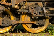Old Rusty Steam Train Wheels Stock Photo