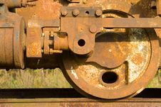 Old Rusty Steam Train Wheels Stock Images