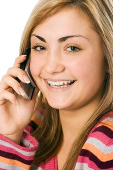 Woman Calling By Cellphone Stock Image