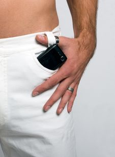 Cellphone In Pocket Royalty Free Stock Image