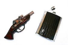 Free Pistol And Flask Stock Image - 3408621