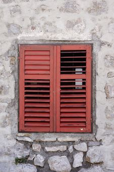 Window With Red Shutters Stock Photo