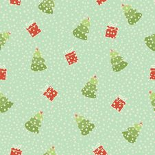 Free Christmas Tree Gift Seamless Background Stock Photo - 34006500