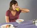 Free Woman Eating Gluten-free Breakfast Stock Photography - 34014642