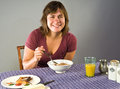 Free Woman Eating Gluten-free Breakfast Stock Photography - 34014662
