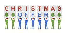 Free Men Holding The Words Christmas Offer. Stock Photos - 34014033
