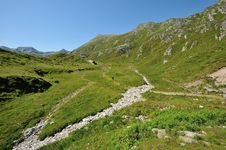 Hiking In Sunny Alps Royalty Free Stock Photography