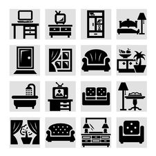 Free Furniture  Icons Stock Photo - 34015070