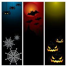 Happy Halloween Day Banner Set Design Royalty Free Stock Image