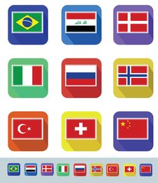 Free Flags Set Royalty Free Stock Photos - 34015168