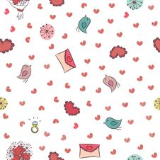 Free Seamless Background For Valentines Day. Royalty Free Stock Image - 34015486