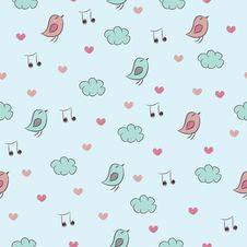 Free Seamless Pattern With Birds, Hearts, Clouds And No Stock Images - 34015534