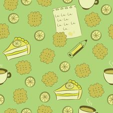 Seamless Pattern With Cakes, Lemon And Tea. Royalty Free Stock Images