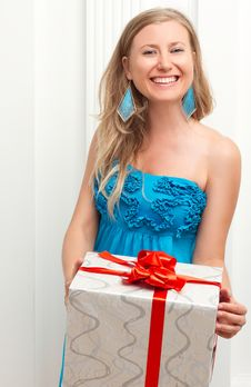 Free Woman In Dress With Present Royalty Free Stock Image - 34017056
