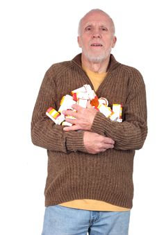 Free Senior Citizen With Multiple Prescriptions Royalty Free Stock Photography - 34020627