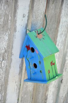 Free Little Blue And Green Birdhouse Royalty Free Stock Photo - 34023375