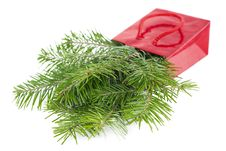 Fir-tree Twigs In Red Paper-bag Isolated On White