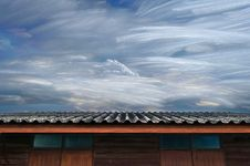 Moving Of Freezing Cloud In Blue Sky Over Roof Of Wooden House Royalty Free Stock Image