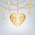 Free Key And Lock Shaped Heart Stock Photography - 34073432
