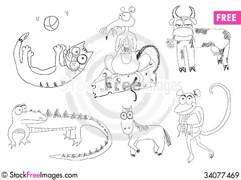 Free Cartoon Animals Royalty Free Stock Images - 34077469